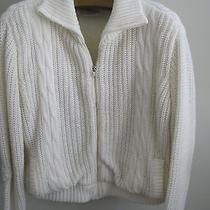 Cable Knit Sherpa Lined Heavy Faux Fur Sweater Jacket Chill Chasers Zip Cream L Photo