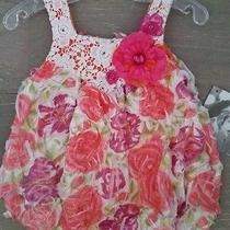 Cach Cach Cachcach Crochet Bubble Romper 9m Nwt High End Boutique Island Floral Photo