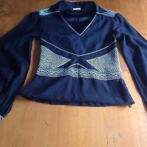 Cacharel Black 100% Silk Embroidered Shirt Top Blouse Like New Paris Photo