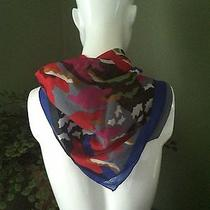Cacharel Bright Blue Bordered Colorful Abstract Design Scarf Photo