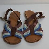 Cacharel Brown Leather and Fabric Sandal Size 39 Fun Bin 514 Photo