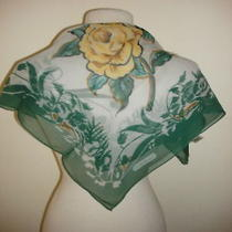 Cacharel for Glentex Green Scarf Yellow Rose Painting Photo