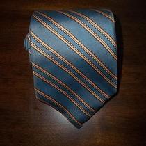 Cacharel Paris   Slate Blue Peach Orange Angled Striped Vintage Dress Neck Tie Photo