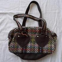 Cacharel Purse Brown Hearts Embroidered Leather Bird Charm Handbag Bag Photo