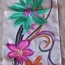 Cacharel Silk Scarf 36 X 8.5 Teal Orange Pink Floral Pattern Photo