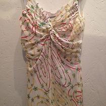Cacharel Sleeveless Floral Silk Vintage Style Dress Photo