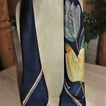 Cacharel Square Floral Scarf Navy White Tanyellow  Silk 28 X 28 Inches Photo