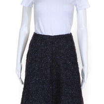 Cacharel Womens Wool Tweed a-Line Knee Length Skirt Navy Size 8 Ll19ll Photo