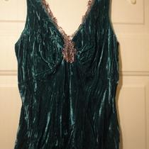 Cache Aqua Crushed Velvet & Lace Tank Top Sz Medium Nwt Photo