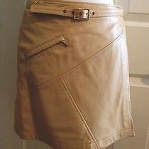 Cache Beige Camel 100% Lamb Leather Belted Wrap Mini Skirt Size 0 Photo