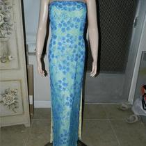 Cache Blue Beaded Gown Prom Evening Size Small Photo