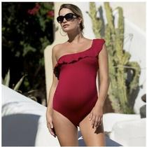 Cache Coeur Bloom Maternity Swimsuit Size L Red Photo
