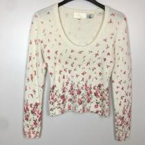 Cache - Lovely Womens Pink Blush Cream Floral Beaded Sweater Size M Euc Photo