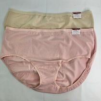 Cacique Set of 2 Cotton High Leg Briefs 19/20 Tan/blush Panties Sexy Women Nwt Photo