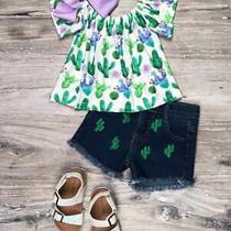 Cactus Lavender Bloom Denim Shorts Girls Outfit Photo