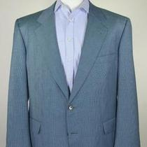 Caleffi Roma Handmade Canvassed Aqua Teal Blue Plaid Wool Sportcoat Blazer 46r Photo