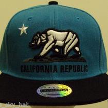 Cali Ca California Republic Bear Flag Snapback Two Tone Aqua Black Cap Hat Cover Photo