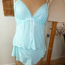 California Dynasty Baby Doll Pajamas Pretty Aqua Check Print Tap Pants Sz M New Photo