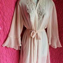 California Dynasty Blush Pink Chiffon Robe  Tie Embroidery Pearls Flutte Cuff M Photo