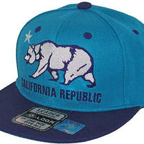 California Republic Youth Flatbill Snapback Cap Kids Hat Vintage Aqua/purple 4-8 Photo