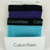 Calvin Klein 2 Pair Boxer Briefs Purple/aqua Logo Waistband Boys Sz L 12/14 Photo