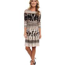 Calvin Klein 3/4 Sleeve Printed Women's Dress W/ Belt (Blush Multi) Size 2 Photo