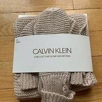 Calvin Klein 3 Piece Set Hat Scarf and Mittens Rose Gold / Blush Pink Nwt Photo