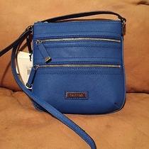 Calvin Klein 3 Zip Leather Crossbody Handbag Purse Cobalt H2re1166 Nwt 118 Photo