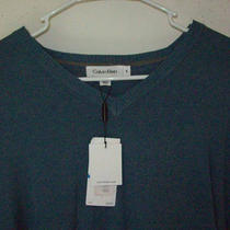 Calvin Klein Aqua v Neck 100% Cotton Casual Sweater Men's Size Xl New With Tags Photo