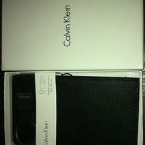 Calvin Klein Black  Leather Passcase Key Fob Set Bifold Wallet New in Box Photo