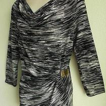 Calvin Klein Black & Off-White Ruched Front Stretchy Blouse Top Size M Photo