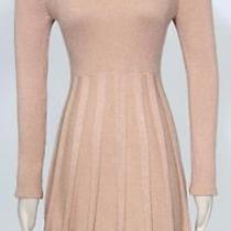 Calvin Klein Blush Gold Size M Acrylic Cowl Neck Fit Flare Sweater Women's Dress Photo