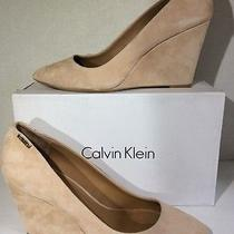 Calvin Klein Celesse Womens Size 11 Blush Nude Suede Wedge Pumps Shoes Zd-334 Photo