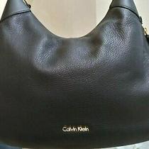 Calvin Klein Classic Hobo Bag Large Black Pebbled Leather Photo