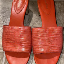 Calvin Klein Dasha Deep Blush Tejus Lizard Embossed Block Heel Sandal Sz 8.5 Photo