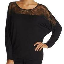 Calvin Klein Decadence Lace Pajama Top Modal Silk Blend Black Small Nwt Photo