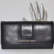 Calvin Klein Jeans Black Leather Clutch Wallet Best Buy Photo
