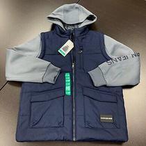 Calvin Klein Jeans Boys Jacket Hoodie Hooded Vest Midnight Blue Gray Sz Xl 18/20 Photo