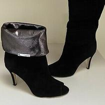 Calvin Klein Kaiya Suede & Metallic Peep-Toe Convertible Bootie Sz 8 Photo