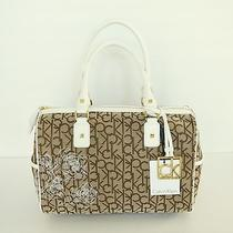 Calvin Klein Khaki/brown/white Logo Jacquard Hudson Floral Tote H2ddf677 New Photo