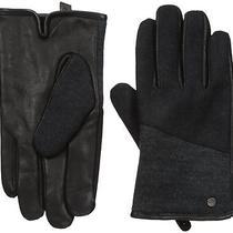 Calvin Klein Men's Mixed Media Knit Insert Leather Glove With Touchscreen Techno Photo