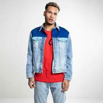 Calvin Klein Men's Size L Colorblock Denim Trucker Jacket Light Wash Blue 250 Photo
