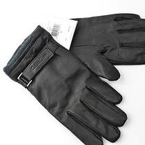 Calvin Klein Mens Black Ck A1 Lined Leather Driving Gloves Sz M Touchscreen Photo