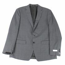 Calvin Klein Mens Blazer Gray Size 38 Plaid Print 2-Button Wool 325- 256 Photo