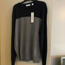 Calvin Klein Mens Gray/navy Long Sleeve Crew Neck Pullover Sweater Size Xl.  Lt Photo
