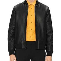 Calvin Klein Mens Jacket Black Size Xl Full Zip Bomber Leather 498 401 Photo