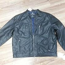 Calvin Klein Mens Jet Black Jacket Faux Leather Xl Insulated Retail 195 Photo