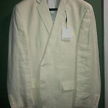 Calvin Klein Mens New Beige 100% Linen 2 Button Blazer Double Vented Size 46r Photo