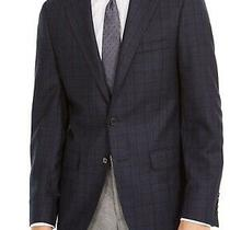 Calvin Klein Mens Sport Coat Blue Size 38 Short Slim Fit Plaid Blazer 350 256 Photo