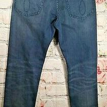 Calvin Klein Mens Stretch Straight Leg Blue Denim Jeans 32w X 32l Distressed  Photo